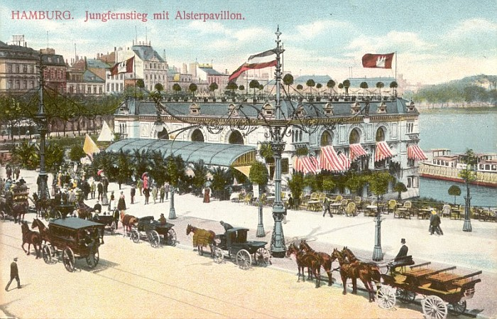 Alsterpavillon am Jungfernstieg in Hamburg um 1900