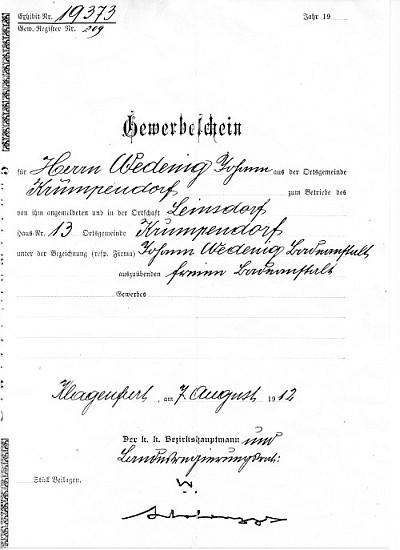 Bad Stich Gewerbeschein 1912