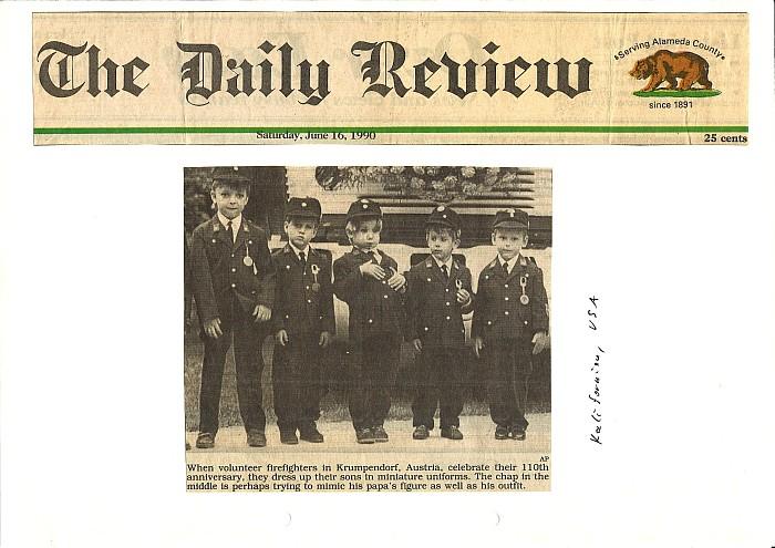 Presse Echo USA über die junge Feuerwehr Krumpendorfs 1990
