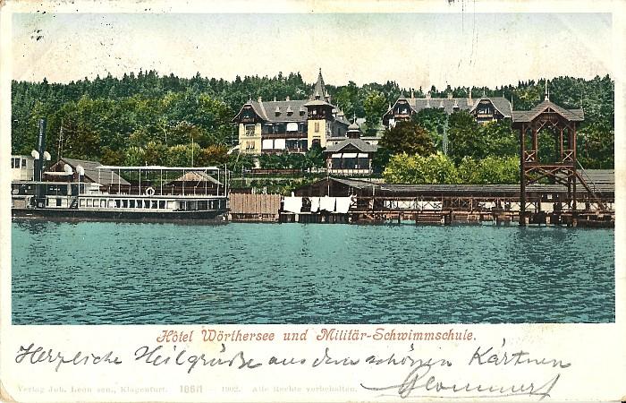Hotel Wörthersee und Militärschwimmschule 1902