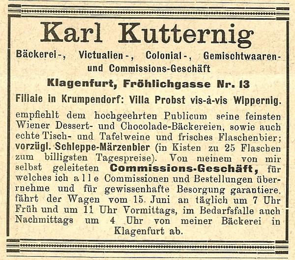 Anzeige von Karl Kutternig in Cur- und Fremden-Liste vom Ws 1894