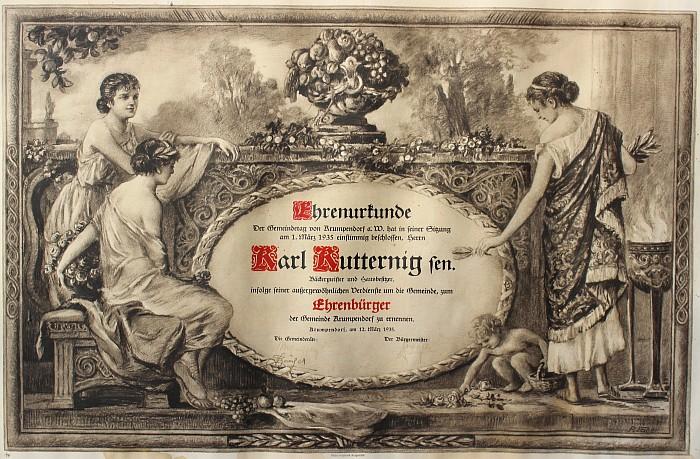 Ernennung zum Ehrenbürger der Gem. Krumpendorf 1935