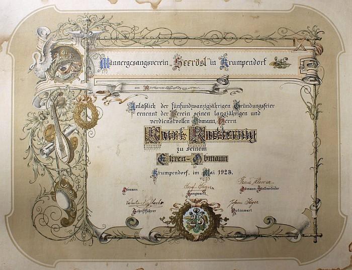 Ernennung zum Ehren-Obmann des MGV Seerösl 1923