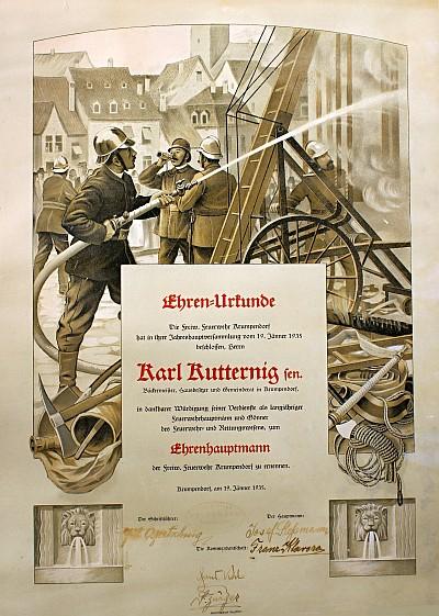 Ehren-Urkunde der FF Krumpendorf 1935