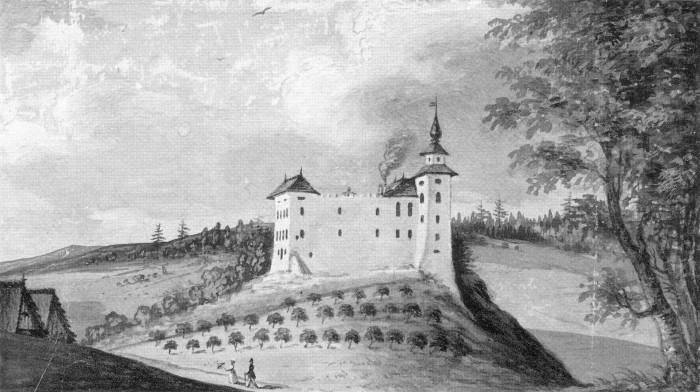 Schloss Drasing 1843, Aquarell