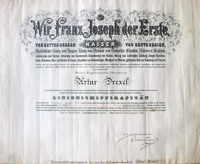 Linienschiffskapitänspatent A. Drexel 1912