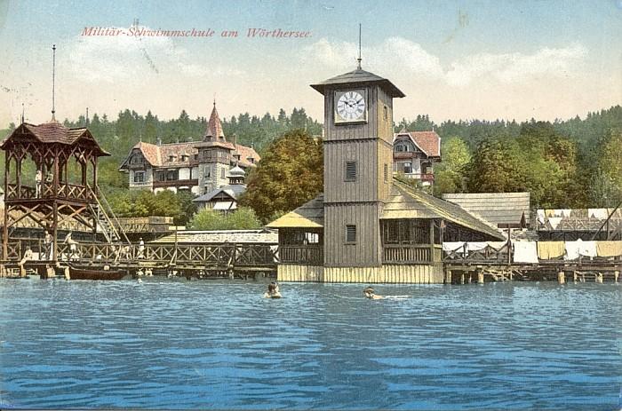 Militärschwimmschule mit Hotel Wörthersee 1912