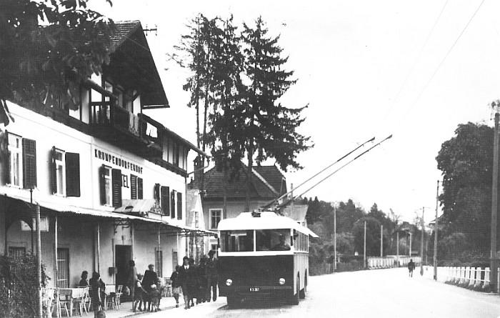 Obus-Haltestelle Krumpendorferhof 1949