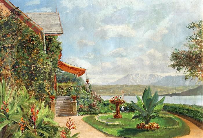 Garten der Villa Oblasser 1912 (Ölbild A. Drexel)
