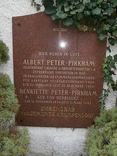 Ehrengrab der Gemeinde Krumpendorf für Albert Peter-Pirkham