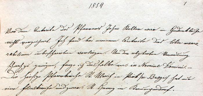 Pfarrchronik Krumpendorf 1859 Seite 1