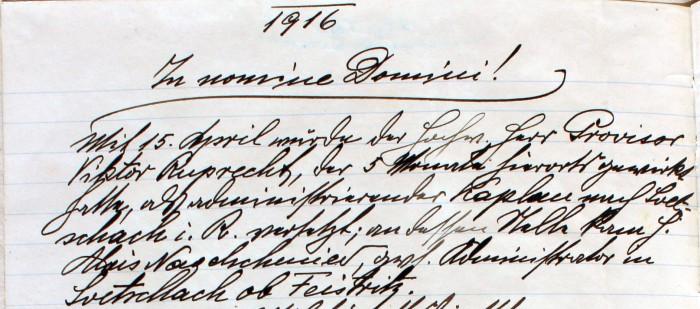 Pfarrchronik Krumpendorf 1916 Seite 85