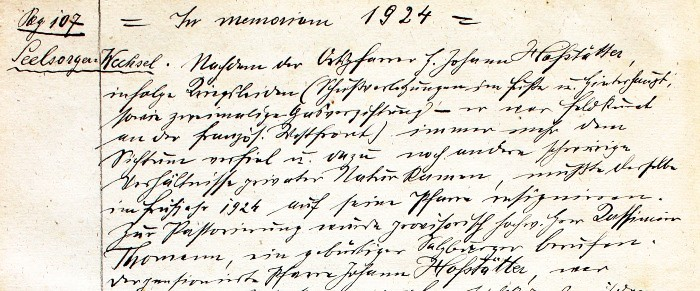 Pfarrchronik Krumpendorf 1924 Seite 107