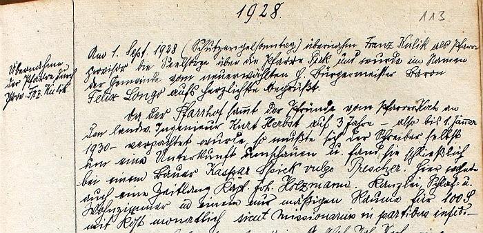 Pfarrchronik Krumpendorf 1928 Seite 113