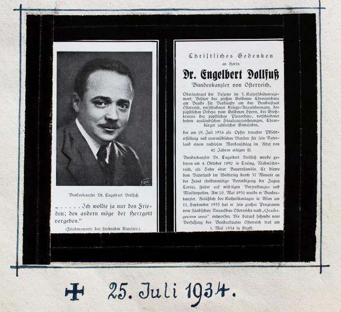 Gedenken an Dr. Engelbert Dollfuß, Bundeskanzler von Österreich S. 122