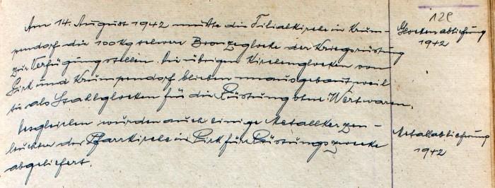 Pfarrchronik Krumpendorf 1942 Seite 129
