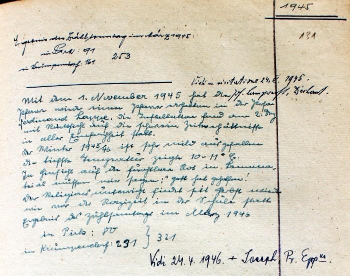 Pfarrchronik Krumpendorf 1945 Seite 131