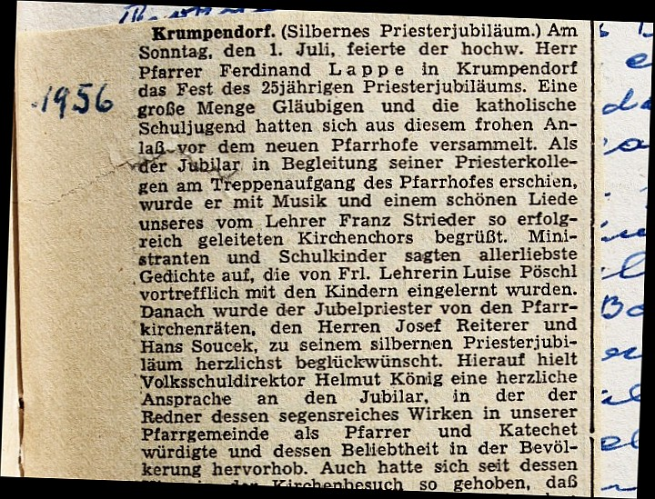 Zeitungsausschnitt Silbernes Priesterjubiläum Pfarrer Lappe (S. 135)