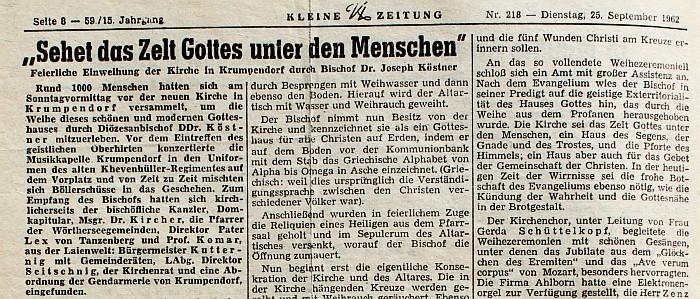 Zeitungsausschnitt Kircheneinweihung 1962 (Seite 138)