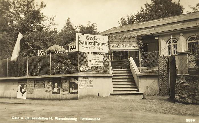 Café Dvorsky Ansicht von Hauptstraße ca. 1928