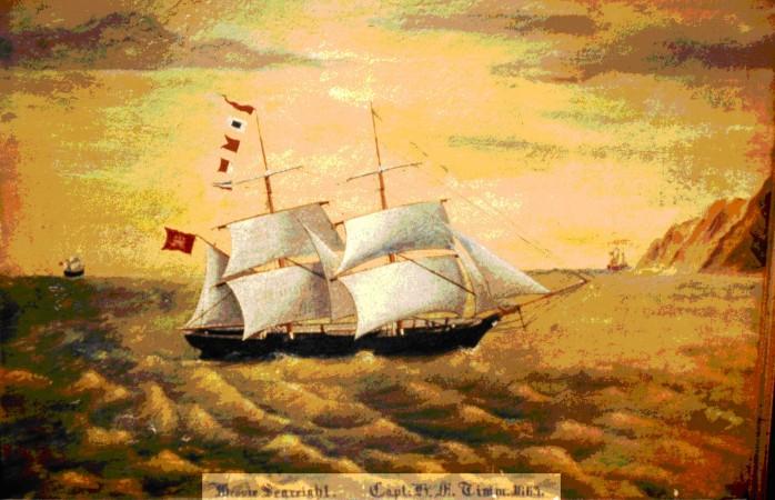 """Das Segelschiff """"Bessie Searight"""" 1869 - unter Kapitän Heinrich Timm"""
