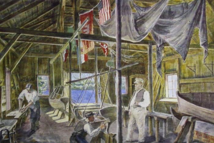 Scherrlsche Bootsbauwerft in Krumpendorf 1884