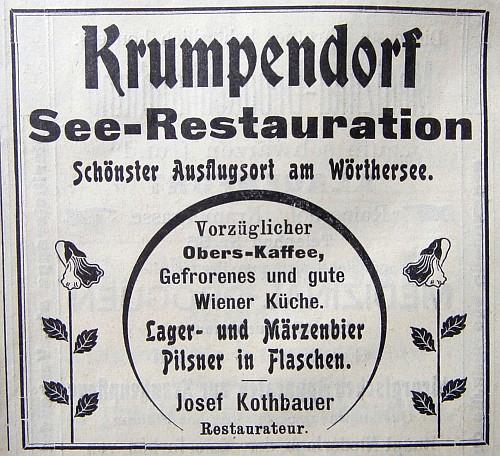 Anzeige See-Restauration Krumpendorf 1903