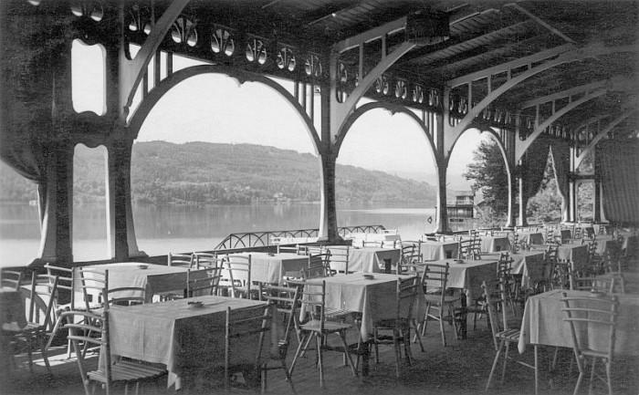 Ausblick von der 1. Terrasse der Seerestauration in Krumpendorf