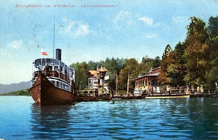 Seerestauration mit Dampfer, im Hintergrund Villa Schwalbennest 1912