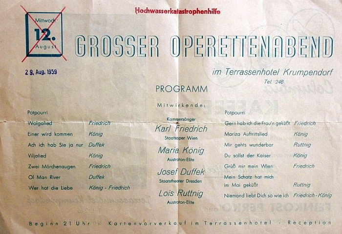 Operettenabend im Terrassenhotel 1959
