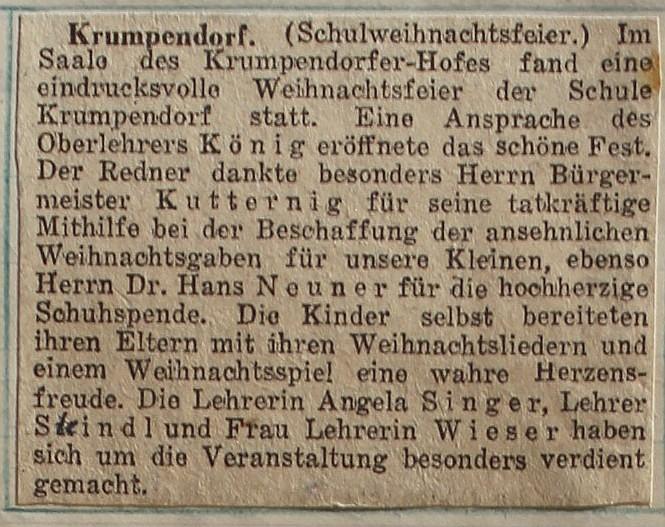 Zeitungsartikel Schulweihnachtsfeier 1951