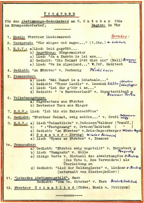 Festprogramm zum 10. Oktober 1960