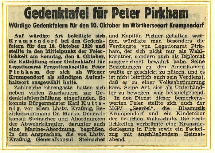 Peter-Pirkham Gedenkfeier Zeitungsratikel 1960