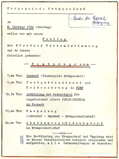 Programm zum Festtag des 9.10.1960