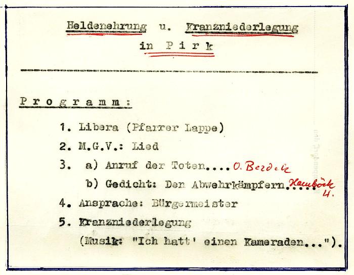 Programm Heldenehrung und Kranzniederlegung in Pirk 1960