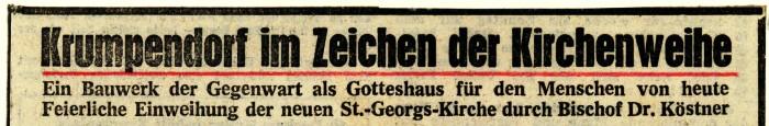 Kircheneinweihung 1962, Zeitungsartikel