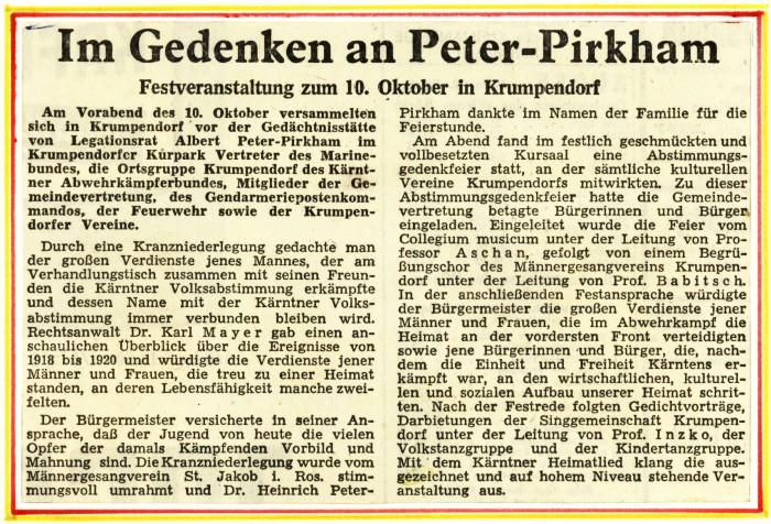 Zetungsartikel zum Gedenken an Peter-Pirkham