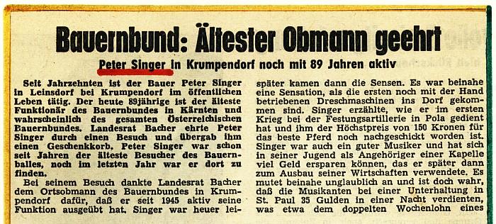 Ehrung Peter Singer 1968