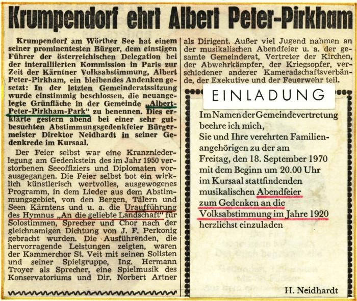 Gedenken an Peter-Pirkham 1970