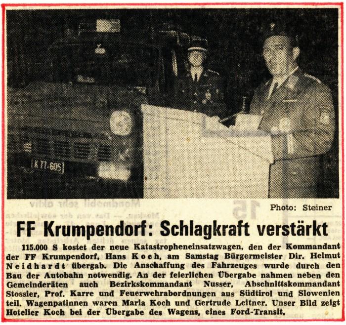 Zeitungsartikel FFK 1970