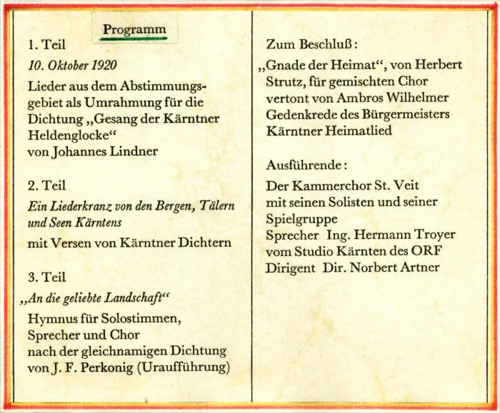 Programm Volksabstimmungsfeier 1970