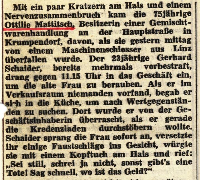 Überfall Mattitsch 1970