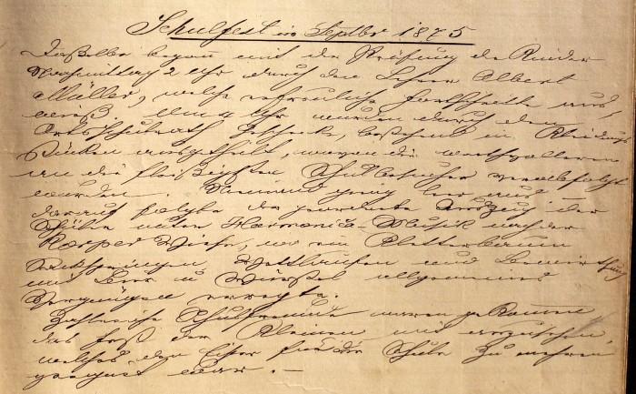 Eintrag zum ersten Schulfest 1875