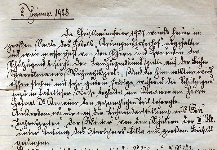 Handschrift Schulchronik 1928