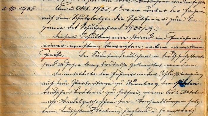 Handschrift Schulchronik 1938