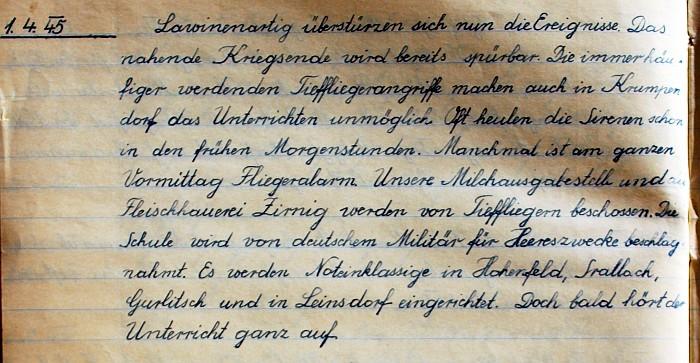 Handschrift Schulchronik 1945