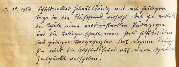 Handschrift Schulchronik 1956